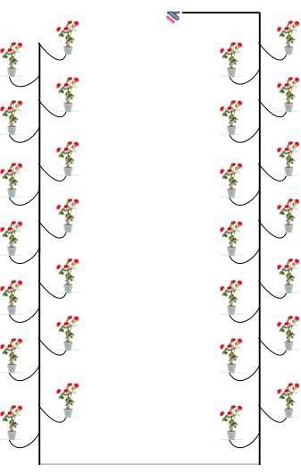 Thiết kế mẫu hệ thống tưới phun dùng ống đầu 8 tia cho cây hoa hồng
