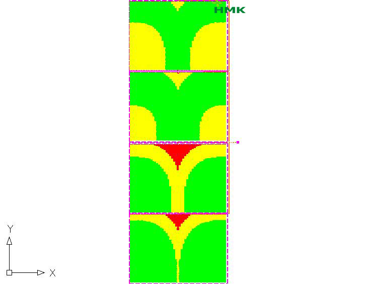 Thiết kế 4 phân khu tưới theo chiều dọc ven sông của cây măng tây